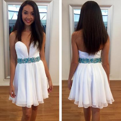 Custom Cheap Sweetheart White Prom ..