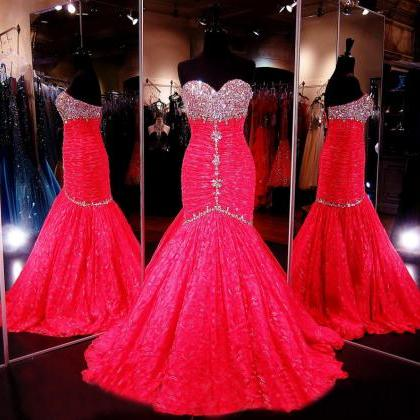 Prom Dress Hot Pink, Lace Prom Dres..
