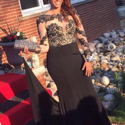 Long Mermaid Black Prom Dress Gown ..