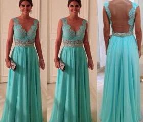 2016 Cheap A line Chiffon Lace Long Sexy Nude Back Turquoise Prom Dresses Gowns, Formal Evening Dresses Gowns, Homecoming Graduation Cocktail Party Dresses,Custom Plus size