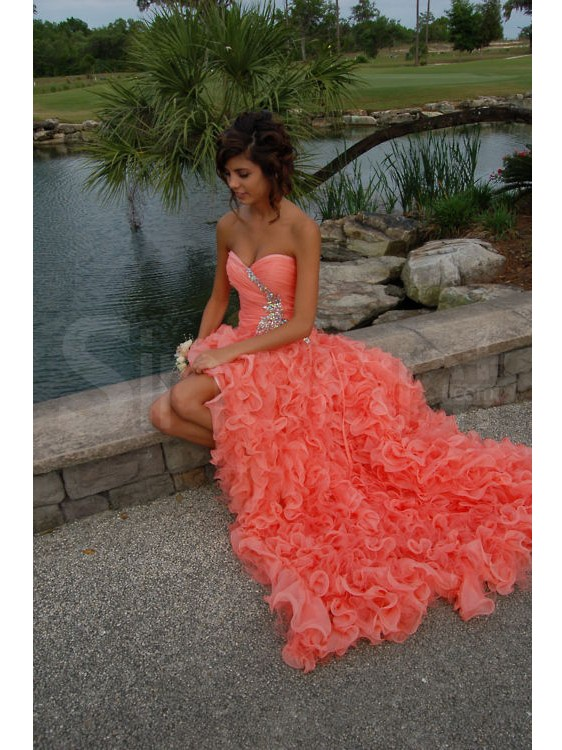 Cheap A Line Sweetheart Pink High Low Prom Dresses Gowns 2016 ...