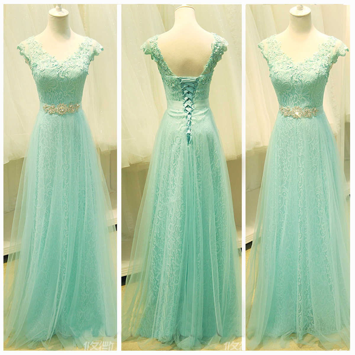 Custom Cheap Cap Sleeves Mint Green Lace Long Prom Dresses