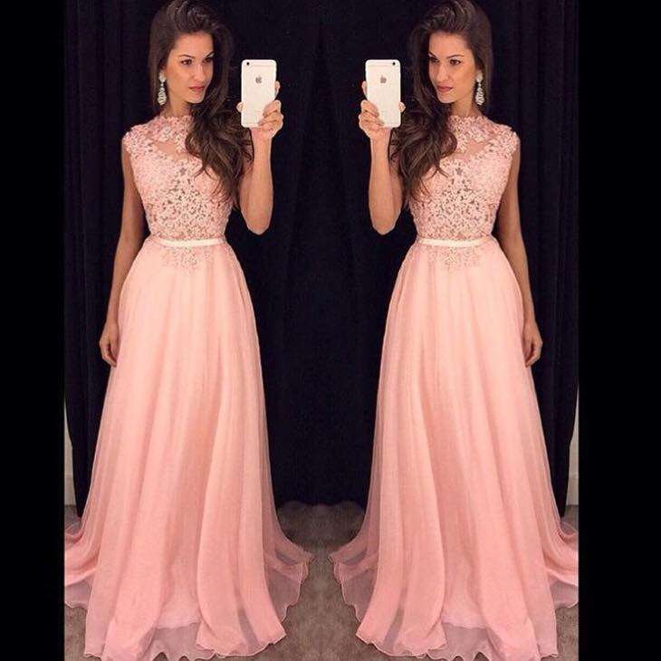 Custom Cheap High Neck Long Elegant Chiffon Lace Pink Prom Dresses ...