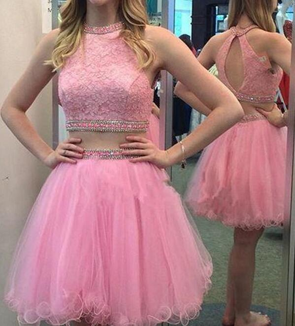 Custom Cheap Short Pink Two Pieces Prom Dresses Gowns Evening Dresses Short Party Dresses Cocktail Dress Homecoming Dresses Plus Size