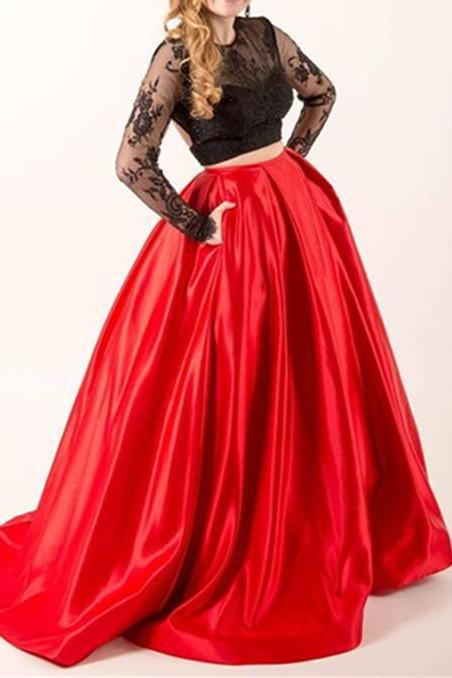 Two Piece Black Lace Red Satin Prom Dress Gown Long Sleeves Cheap,Evening Dress,Formal Dress,Cocktail Dress,Party Dress,Graduation Dress