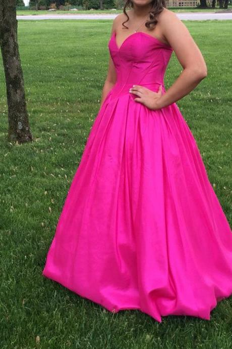 Hot Pink Prom Dress Gown Long 2017,Prom Dress Cheap,Homecoming Dress,Evening Dress,Formal Dress,Cocktail Dress,Party Dress,Graduation Dress Junior prom dress