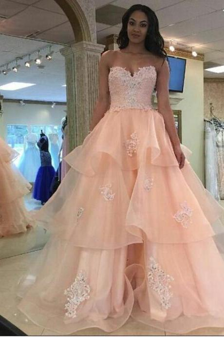 Blush Pink Prom Gown Dress 2017,Prom Dress Cheap,Homecoming Dress,Evening Dress,Formal Dress,Cocktail Dress,Party Dress,Graduation Dress Junior prom dress