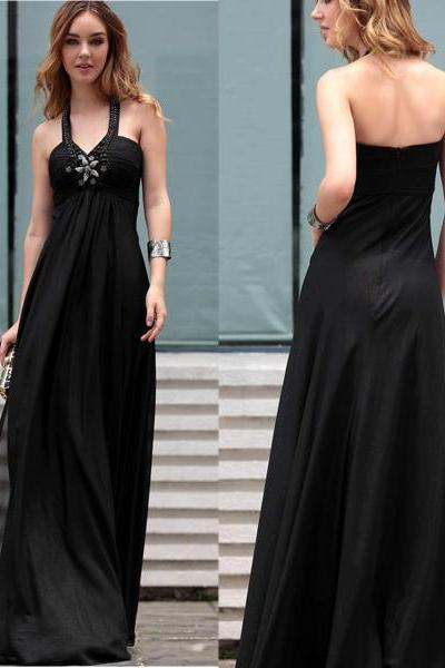 Long Black Prom Gown Dress 2017 Halter,Prom Dress Cheap,Elegant Evening Dress,Formal Dress,Cocktail Dress,Party Dress,Graduation Dress Junior prom dress