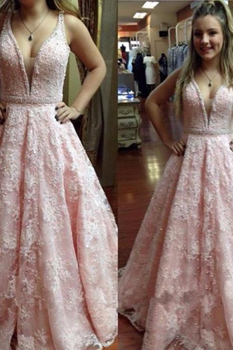Pink Lace Prom Dress Gown with Pearls 2017,Prom Dress Cheap,Evening Dress,Formal Dress,Cocktail Dress,Party Dress,Graduation Dress Junior prom dress