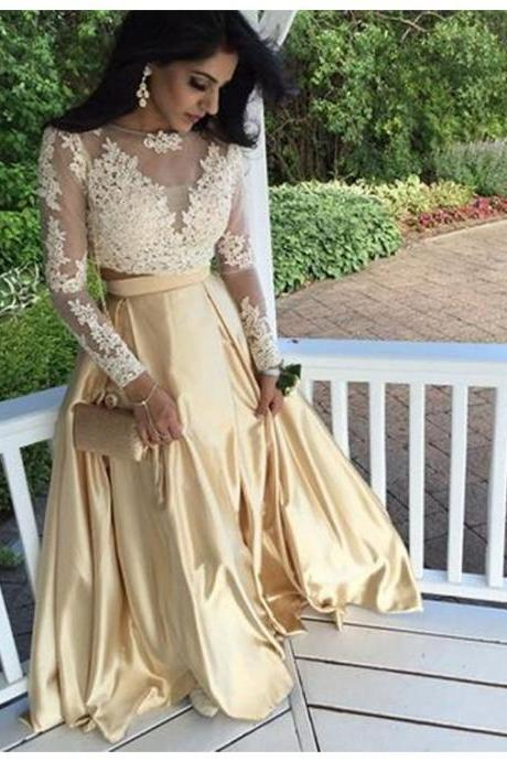 Two Piece Gold Lace Prom Dress Gown Long Sleeves 2017,Prom Dress Cheap,Evening Dress,Formal Dress,Cocktail Dress,Party Dress,Graduation Dress Junior prom dress