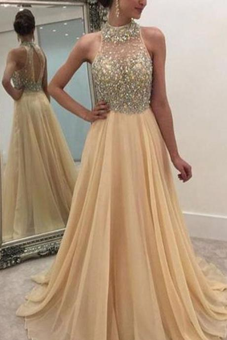 Long Champagne Prom Dress Gown Beaded 2017,Prom Dress Cheap,Evening Dress,Formal Dress,Cocktail Dress,Party Dress,Graduation Dress Junior prom dress