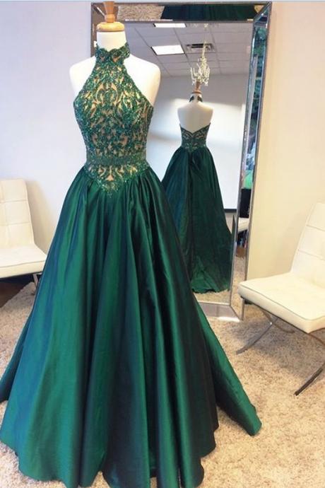 Beaded Halter Backless Prom Dress Gown Green Long 2017,Prom Dress Cheap,Evening Dress,Formal Dress,Cocktail Dress,Party Dress,Graduation Dress