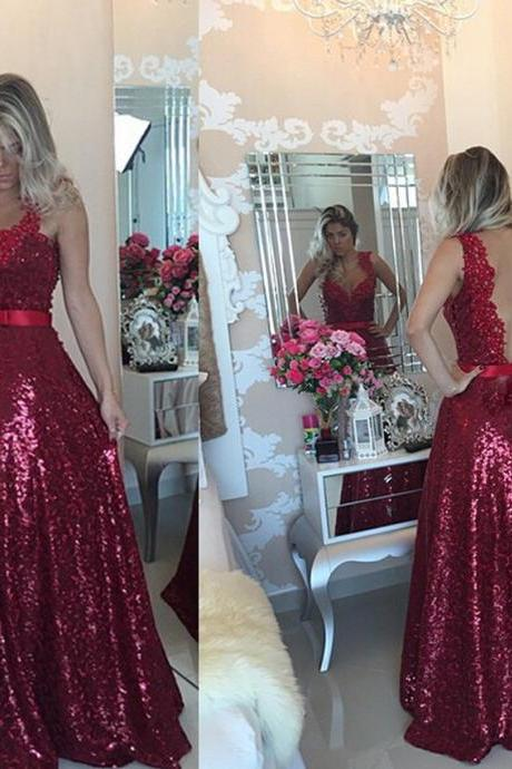 Burgundy Sequins Prom Dress Gown Long with Illusion Back 2017,Prom Dress Cheap,Evening Dress,Formal Dress,Cocktail Dress,Party Dress,Graduation Dress