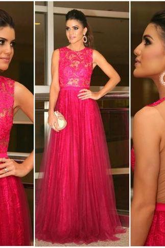 Red Prom Dress Gown with Illusion Back 2017,Prom Dress Cheap,Evening Dress,Formal Dress,Cocktail Dress,Party Dress,Graduation Dress