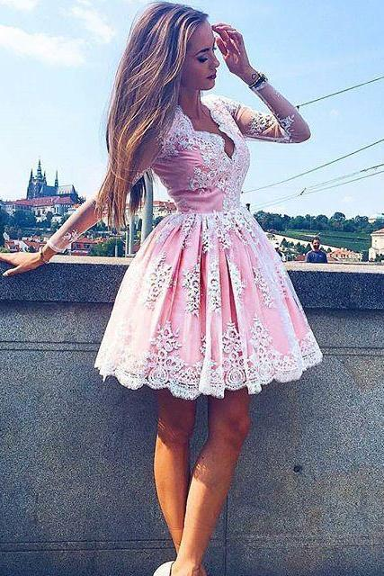 Hot Pink Homecoming Dress,Short Prom Dress,Prom Dress Cheap, Lace Prom Dress,Prom Dress Long Sleeves,Prom Gown,Junior Prom Dress,Evening Dress Short,Cocktail Party Dress,Formal Dress