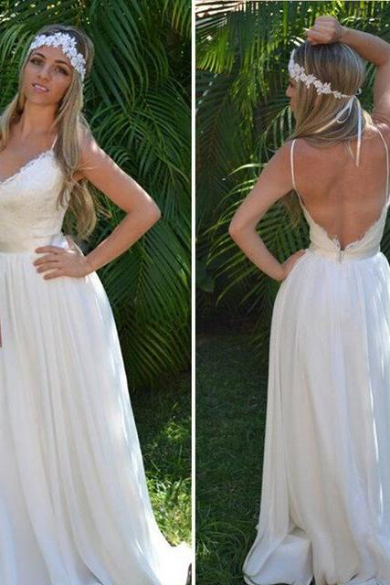 Lace Plunge V Spaghetti Straps Floor Length Chiffon A-Line Wedding Dress Featuring Open Back