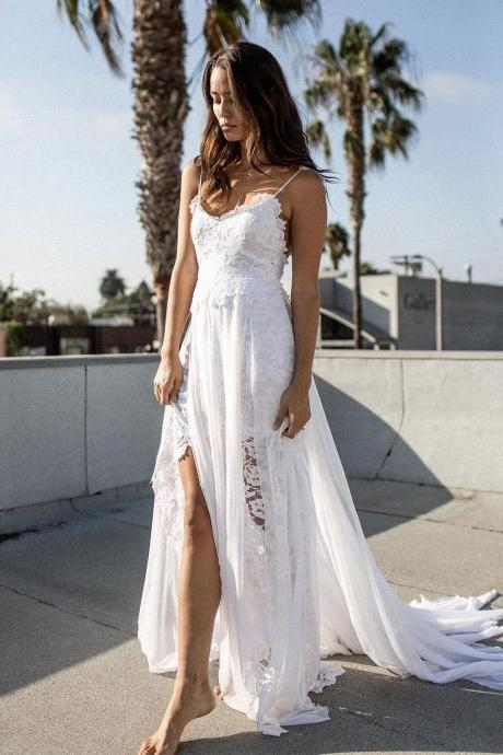 Bohemian Boho Beach Wedding Dresses with Spaghetti Straps Chiffon Lace Wedding Gown Long Bridal Dress Cheap Custom Plus Size 2018