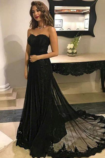 Long Sweetheart Black Lace Prom Dresses Strapless Elegant Formal Evening Gown Party Dress Senior Junior Custom Plus size 2018