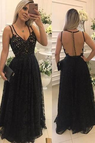 Black Lace Prom Dresses Long with Illusion Back Elegant Formal Evening Gown Party Dress Senior Junior Custom Plus size 2018