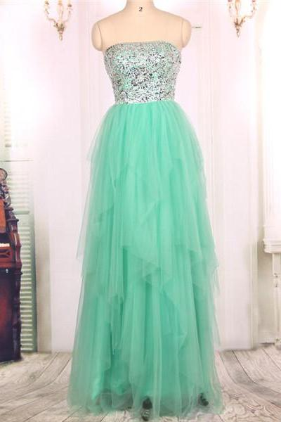 2016 Hot Sale Cheap Strapless Heavy Beaded Tulle Long Turquoise Prom Dresses Gowns, Formal Evening Dresses Gowns, Homecoming Graduation Cocktail Party Dresses Custom Plus size
