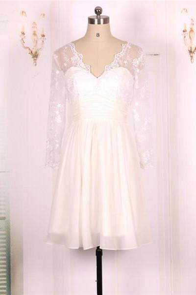2016 New Cheap A line Short White Lace Long Sleeves Prom Dresses Gowns, Formal Evening Dresses Gowns, Homecoming Graduation Cocktail Party Dresses, Short Wedding Dress Custom Plus size