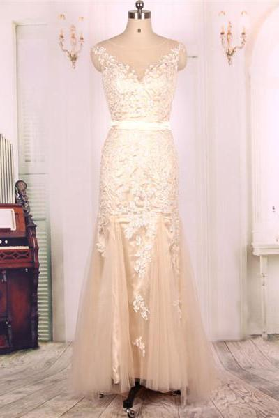 2016 New Cheap Champagne Tulle Long Mermaid Prom Dresses Gowns, Formal Evening Dresses Gowns, Homecoming Graduation Cocktail Party Dresses Custom Plus size