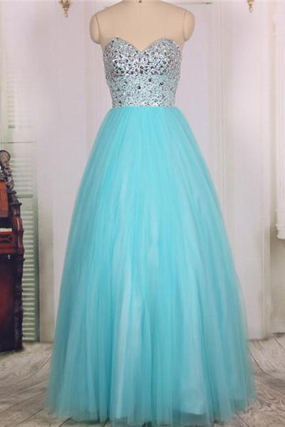 2016 Cheap Sweetheart Heavy Beaded Tulle Long Blue Prom Dresses Ball Gowns, Formal Evening Dresses Gowns, Homecoming Graduation Cocktail Party Dresses Custom Plus size