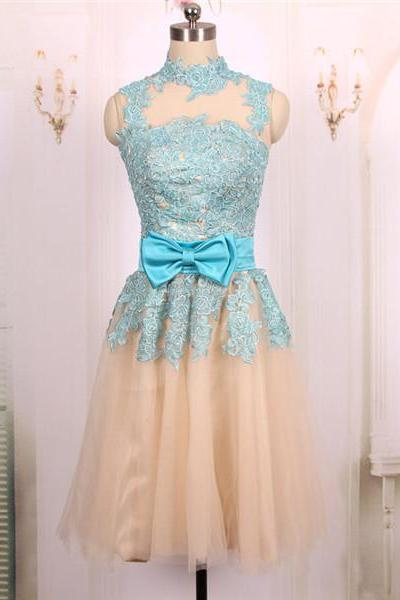 2016 New Cheap Ball Gown High Neck Short Champagne Tulle Blue Lace Prom Dresses Gowns, Formal Evening Dresses Gowns, Homecoming Graduation Cocktail Party Dresses Custom Plus size