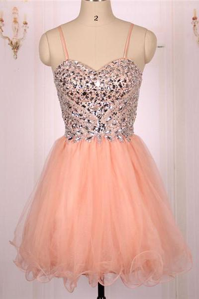Cheap Ball Gown Sweetheart Heavy Beaded Tulle Coral Short Prom Dresses Gowns with Spaghetti Straps, Formal Evening Dresses Gowns, Homecoming Graduation Cocktail Party Dresses Custom Plus size