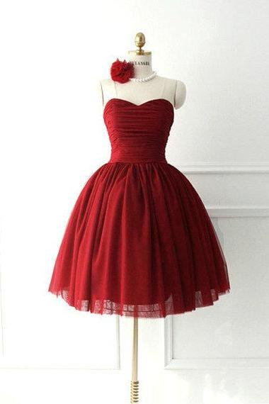 2016 Cheap Ball Gown Sweetheart Wine Red Burgundy Short Prom Dresses Gowns, Formal Evening Dresses Gowns, Homecoming Graduation Cocktail Party Dresses, littke black dress,Custom Plus size