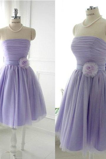 Cheap Ball Gown Strapless Lavender Tulle Short Prom Dresses Gowns 2016, Formal Evening Dresses Gowns, Homecoming Graduation Cocktail Party Dresses, littke black dress,Custom Plus size