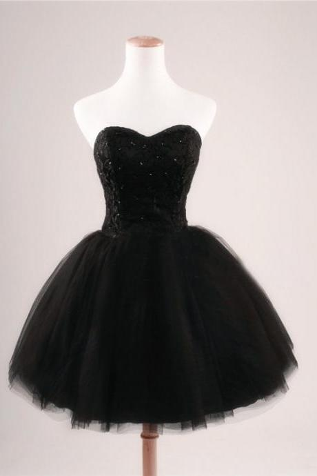 2016 Cheap Ball Gown Sweetheart Beaded Lace Tulle Short Black Prom Dresses Gowns, Formal Evening Dresses Gowns, Homecoming Graduation Cocktail Party Dresses,Little Black Dresses,Custom Plus size