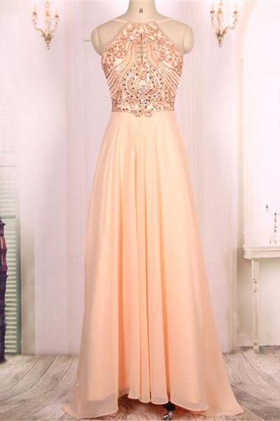 Custom Cheap A line Pink Beaded Long Sexy Backless Prom Dresses Gowns 2016,Formal Evening Dresses Gowns, Homecoming Graduation Cocktail Party Dresses Plus size