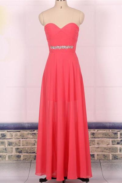 Custom Cheap A line Sweetheart Hot Pink Chiffon Long Prom Dresses Gowns 2016, Formal Evening Dresses Gowns, Homecoming Graduation Cocktail Holiday Party Dresses Plus size