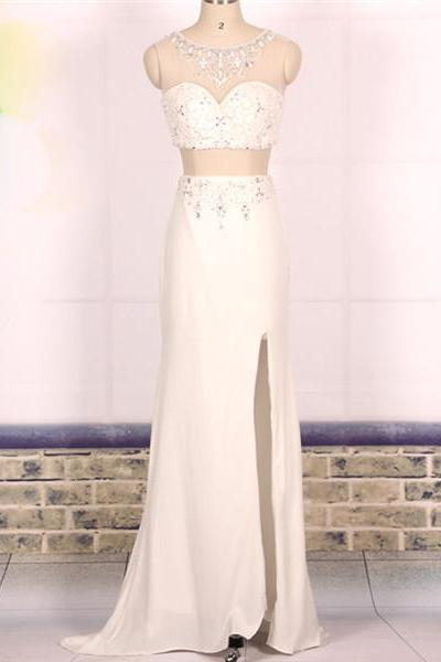 Custom Cheap A line Beaded Long Ivory 2 Two Pieces Prom Dresses 2016, Formal Evening Dresses Gowns, Homecoming Graduation Cocktail Party Dresses, Holiday Dresses, Plus size