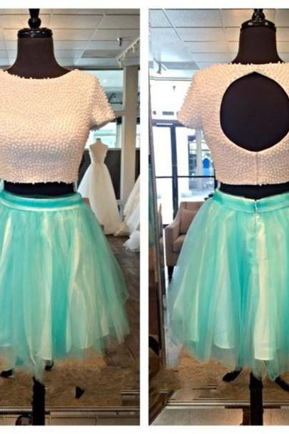 Custom Cheap A line Ball Gown Pearls Beaded Short Turquoise 2 Two Pieces Prom Dresses 2016 with Short Sleeves, Formal Evening Dresses Gowns, Homecoming Graduation Cocktail Party Dresses, Holiday Dresses, Plus size