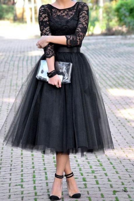 Long Sleeve Prom Dress,Tulle Prom Dress,Mid Calf Prom Dress