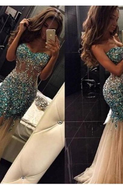 Custom Cheap Heavy Beaded Sparky Long Elegant Mermaid Champagne Prom Dresses Gowns 2016 , Formal Evening Dresses Gowns, Homecoming Graduation Cocktail Party Dresses, Holiday Dresses, Plus size