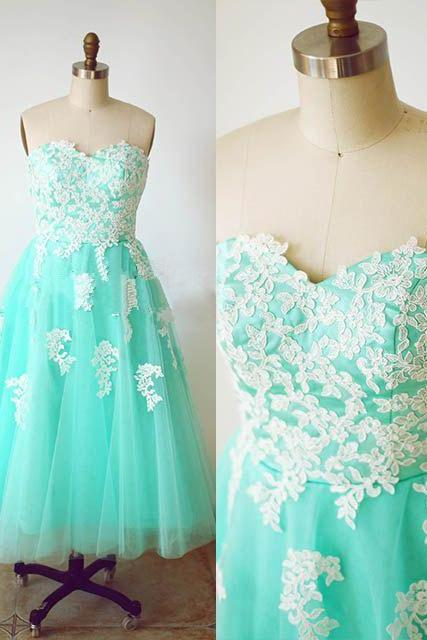 Custom Cheap Sweetheart Turquoise Short Tulle Lace Prom Dresses Gowns 2016 , Formal Evening Dresses Gowns, Homecoming Graduation Cocktail Party Dresses, Holiday Dresses, Plus size