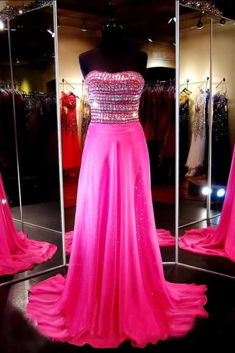 Custom Sparkle Strapless Beaded Chiffon Long Hot Pink Prom Dresses, Prom Gowns, Dresses for Prom, Prom Dress 2017, Affordable Prom Dress, Junior Prom Dress,Formal Evening Dresses Gowns, Homecoming Graduation Cocktail Party Dresses, Holiday Dresses, Plus size