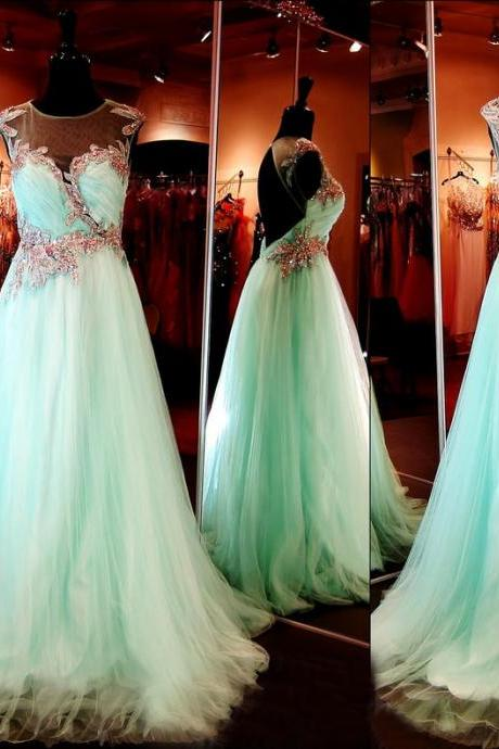 Custom Cap Sleeves Open Back Beaded Tulle Long Aqua Prom Dresses, Prom Gowns, Dresses for Prom, Prom Dress 2017, Affordable Prom Dress, Junior Prom Dress,Formal Evening Dresses Gowns, Homecoming Graduation Cocktail Party Dresses, Holiday Dresses, Plus size