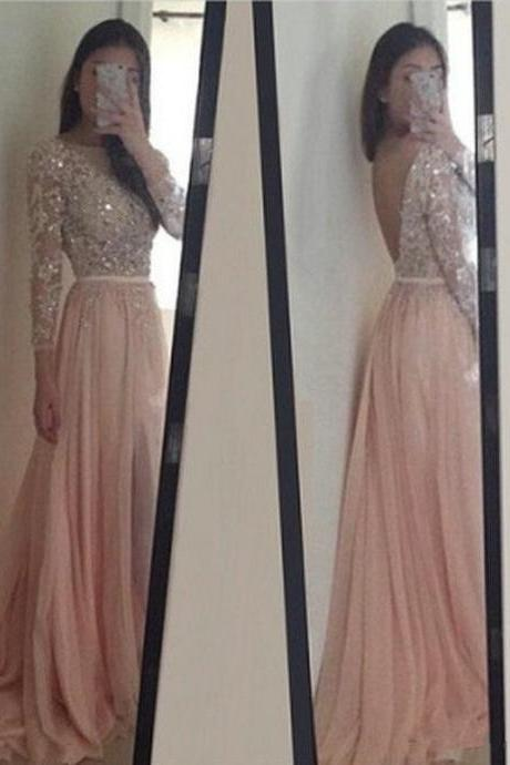 Custom Long Sleeves Prom Dress,Blush Pink Prom Dresses,Lace Prom Dress,cheap Prom Gowns, Evening Dresses, Formal Dress, Homecoming Dresses, Graduation Dress, Party Dress