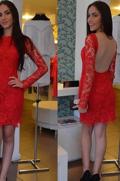 Short Prom Dress,Long Sleeves Prom Dress, Lace Prom Dresses, Red Evening Dress, Lace Evening Dresses, Short Evening Dress, Formal Dress, Homecoming Dresses, Graduation Dress, Party Dress