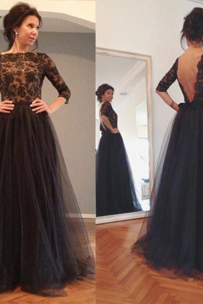 Custom Backless Prom Dress, Backless Evening Dresses,Three Quarter Sleeves Prom Dress, Black Evening Dress, Black Prom Dress,Prom Gowns, Lace Prom Dress,Lace Evening Dress, Formal Dress Party Dress