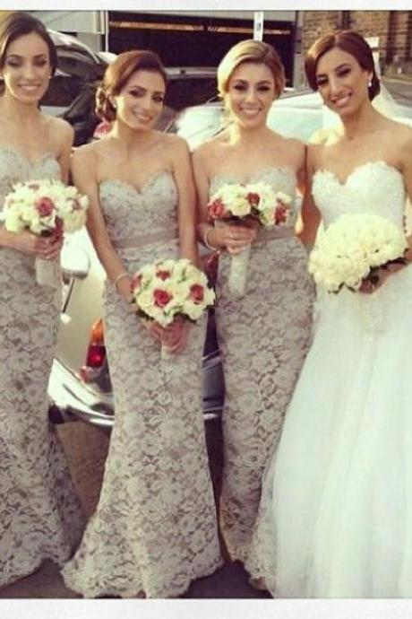 Custom Champagne Bridesmaid Dresses, Bridesmaid Gowns, Mermaid Bridesmaid Dress, Lace Bridesmaid Dress, Long Bridesmaid Dresses, Cheap Bridesmaid Dress, Wedding Party Dress, Lace prom dress