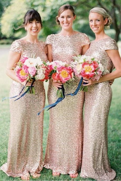 Custom Champagne Sequins Bridesmaid Dresses, Bridesmaid Gowns, Long Bridesmaid Dress, Mermaid Bridesmaid Dress, Sequins Bridesmaid Dresses, Cheap Bridesmaid Dress, Wedding Party Dress