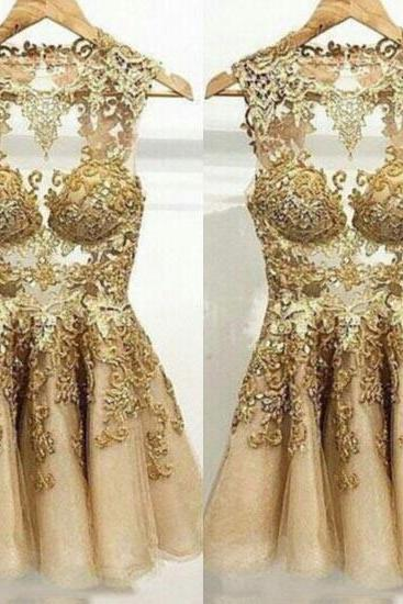 Gold mermaid prom dress
