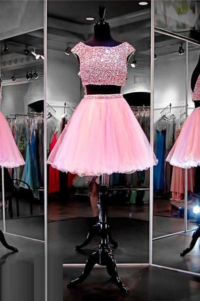 2 Piece Prom Dress,Short Prom Dress,Junior Prom Dress,Cheap Prom Dress,Prom Dress 2016,Pink Prom Dress, Sexy Prom Dress, Pink Homecoming Dress, 8th Grade Prom Dress,Holiday Dress,Pink Evening Dress, Short Evening Dress,Formal Dress, 2 Piece Homecoming Dresses, Graduation Dress, Cocktail Dress, Party Dress