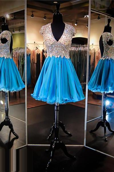Blue Prom Dress,Short Prom Dress,Prom Dress with Deep V neck,Open Back Prom Dress, Sexy Prom Dress,Sparkle Prom Dress,Bling Bling Prom Dress,Cheap Homecoming Dress, 8th Grade Prom Dress,Holiday Dress,Blue Evening Dress, Short Evening Dress,Formal Dress, Homecoming Dresses, Graduation Dress, Cocktail Dress, Party Dress