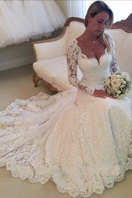 Vestido De Noiva Sereia 2016, Lace Wedding Dress, Long Sleeve Mermaid Lace Wedding Dress Sheer Back, Bride Dresses, Vestido De Noiva Manga Longa, White/Ivory Lace Wedding Dresses